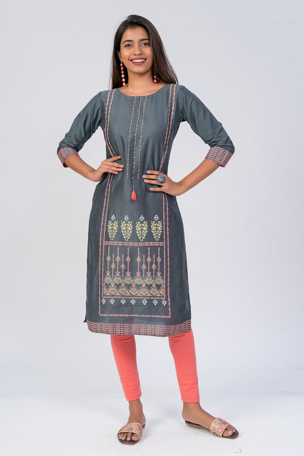 Maybell-Floral printed kurta - Grey1