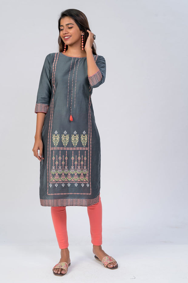 Maybell-Floral printed kurta - Grey2