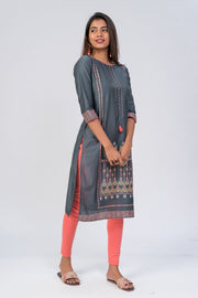 Maybell-Floral printed kurta - Grey3