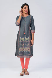 Maybell-Floral printed kurta - Grey4