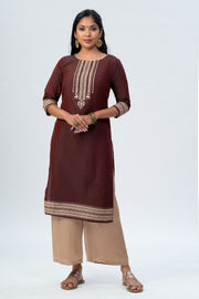 Maybell Tribal printed kurta -Maroon