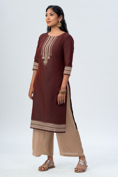 Maybell Tribal printed kurta -Maroon1