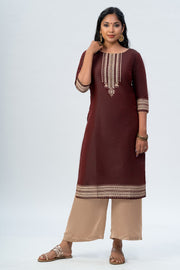 Maybell Tribal printed kurta -Maroon2