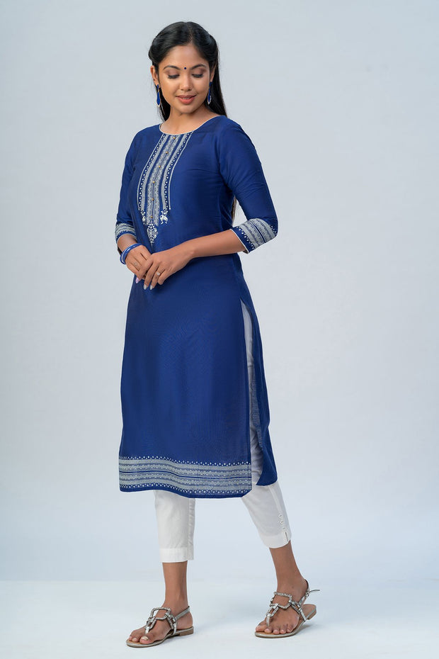 Maybell Tribal printed kurta -Navy blue1