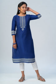 Maybell Tribal printed kurta -Navy blue2