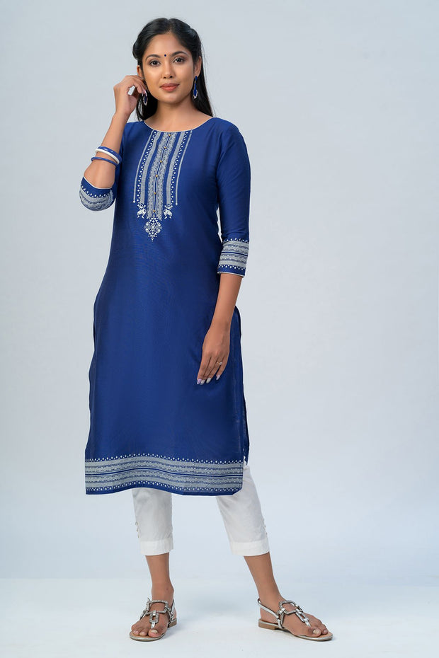 Maybell Tribal printed kurta -Navy blue3