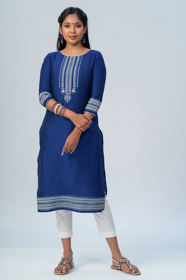 Maybell Tribal printed kurta -Navy blue4