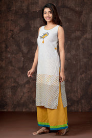 Contemporary Horse Embroidered Pin Striped Kurta - Yellow