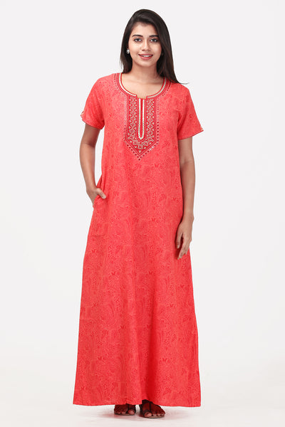 Embroidered Nightwear - Peach - Maybell Womens Fashion