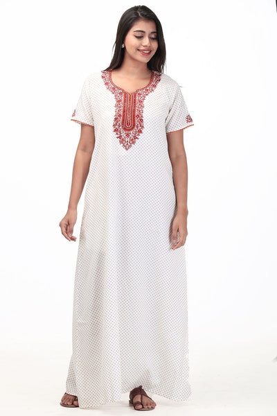 Embroidered Nightwear - White - Maybell Womens Fashion