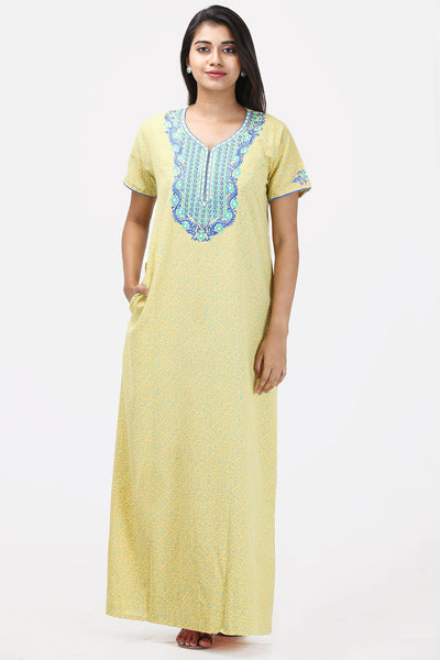 Embroidered Nightwear - Yellow - Maybell Womens Fashion