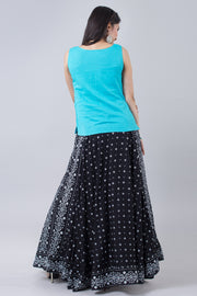 All Over Printed Skirt & Embroidered Top Set - Blue & Black