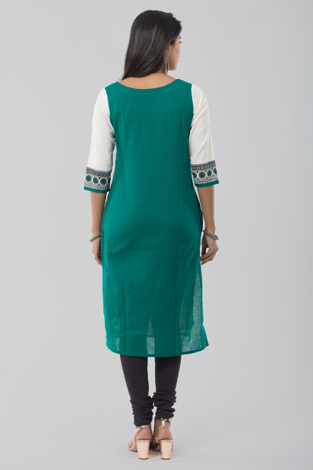 Placement Kathakali Motif Printed Kurta - Green