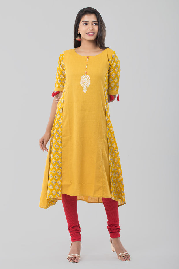 Mustard Round Neck Printed Cotton Kurta - Mustard - Maybell Womens Fashion