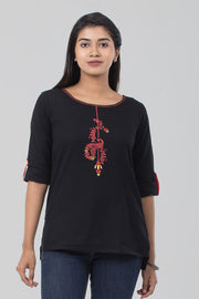 Cotton Boat Neck Tunic - Black - Maybell Womens Fashion