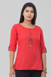 Cotton Boat Neck Tunic - Peach - Maybell Womens Fashion