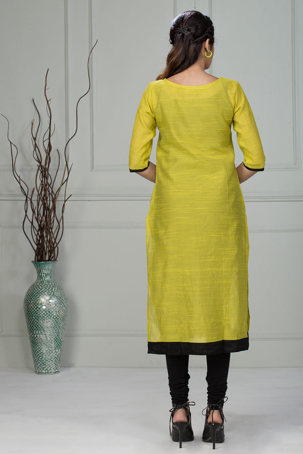 Full Length Placket Print Kurta - Yellow - Maybell Womens Fashion