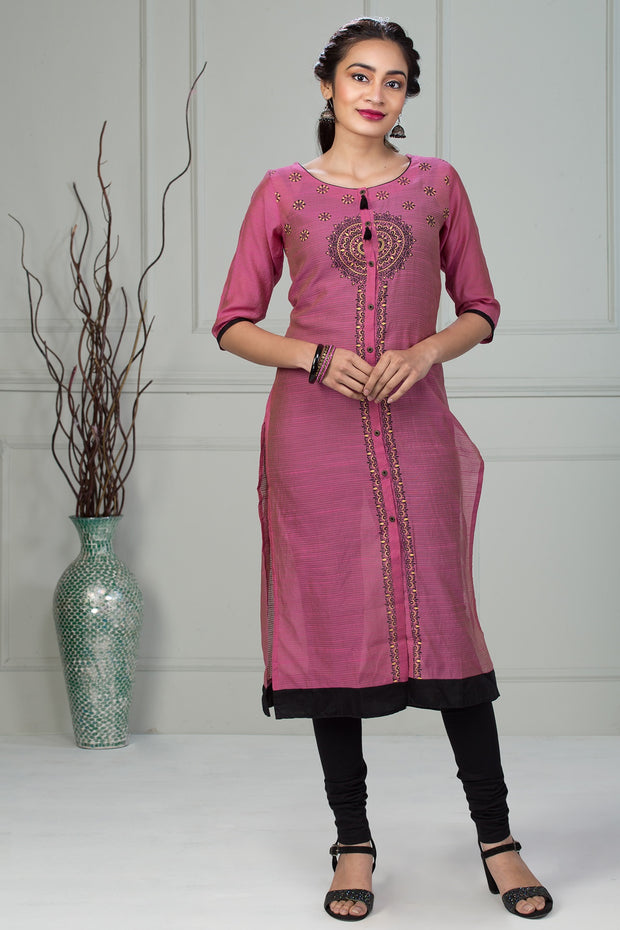 Full Length Placket Print Kurta - Pink - Maybell Womens Fashion