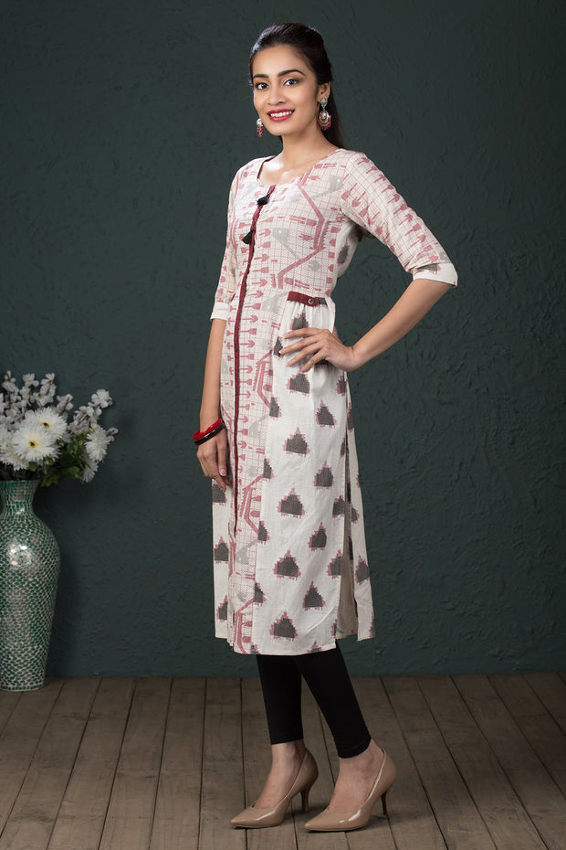 Pixelated Geometric Pattern Kurta - Off white & Red
