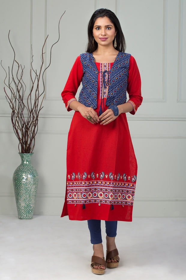 Abstract printed kurti - Red - Maybell Womens Fashion