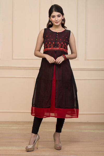 Abstarct printed kurti - Black & Red - Maybell Womens Fashion