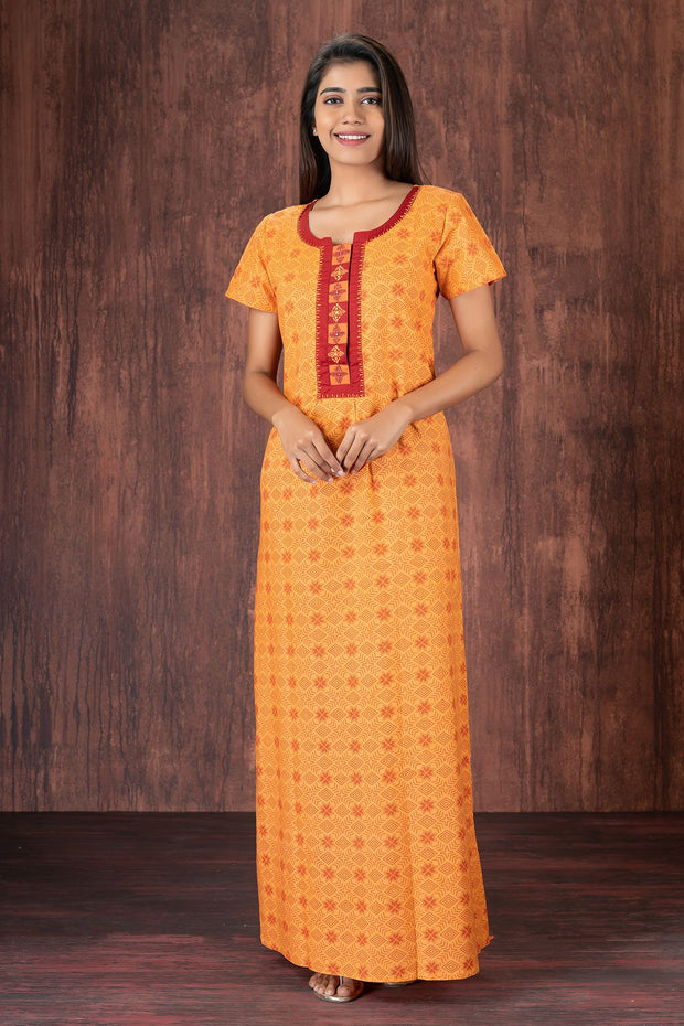 All over printed nightwear-Orange