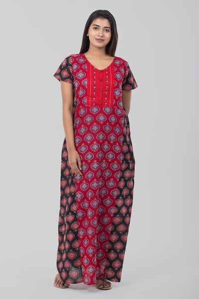 Embroidered Nightwear - Red & Red - Maybell Womens Fashion