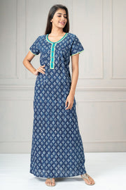 All over ikat printed nightwear-Green