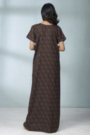 Floral Printed & Yoke Piping Nightwear - Brown - Maybell Womens Fashion