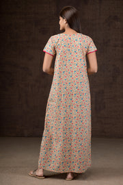 Ditsy Garden Floral Printed Nightwear - Pink with Pink Highlight