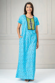 All over printed nightwear-Blue