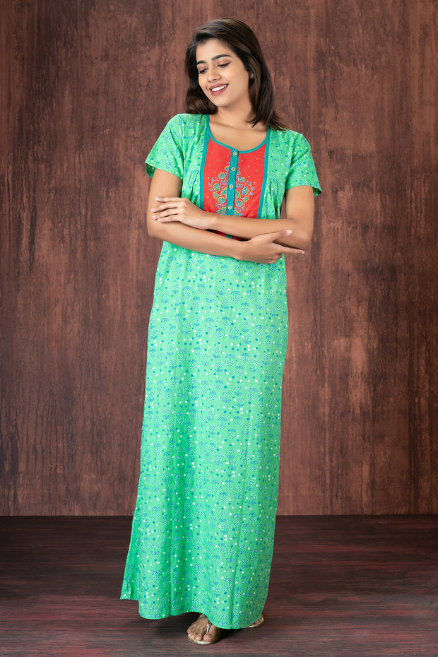All over printed nightwear-Green