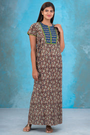 Classic Kalamkari Nighty - Brown