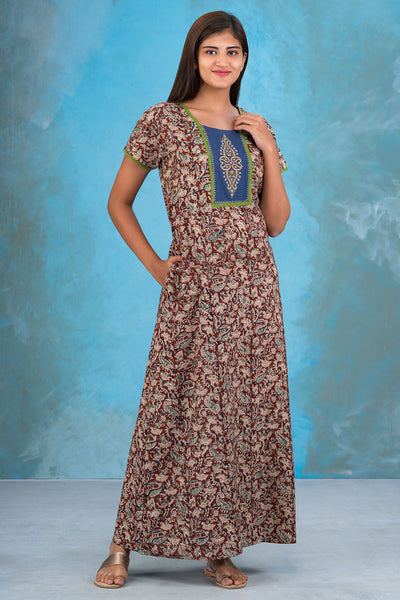 Embroidered Yoke Kalamkari Nighty - Brown