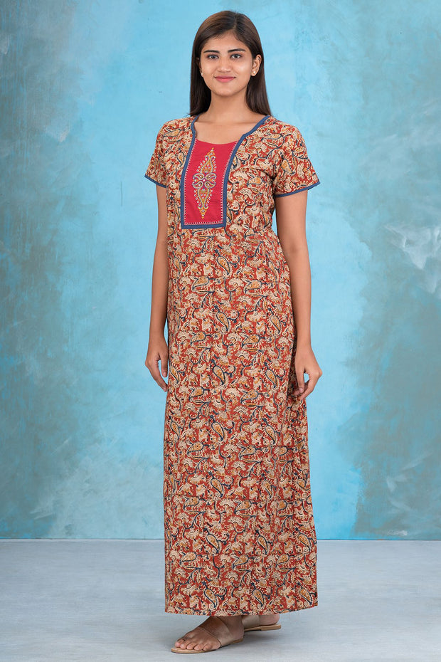 Embroidered Yoke Kalamkari Nighty - Maroon
