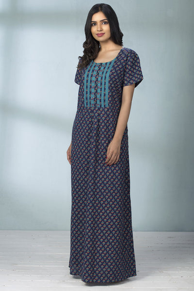 Floral Printed & Embroidery Placket Nightwear - Navy Blue - Maybell Womens Fashion