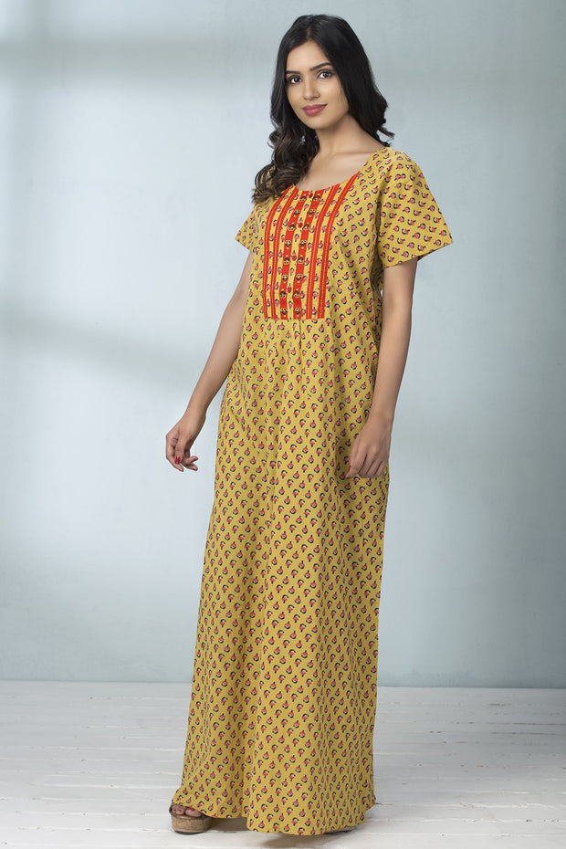 Floral Printed & Embroidery Placket Nightwear - Yellow - Maybell Womens Fashion