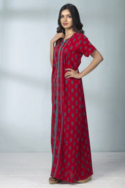 Geometric Printed Nightwear - Red - Maybell Womens Fashion