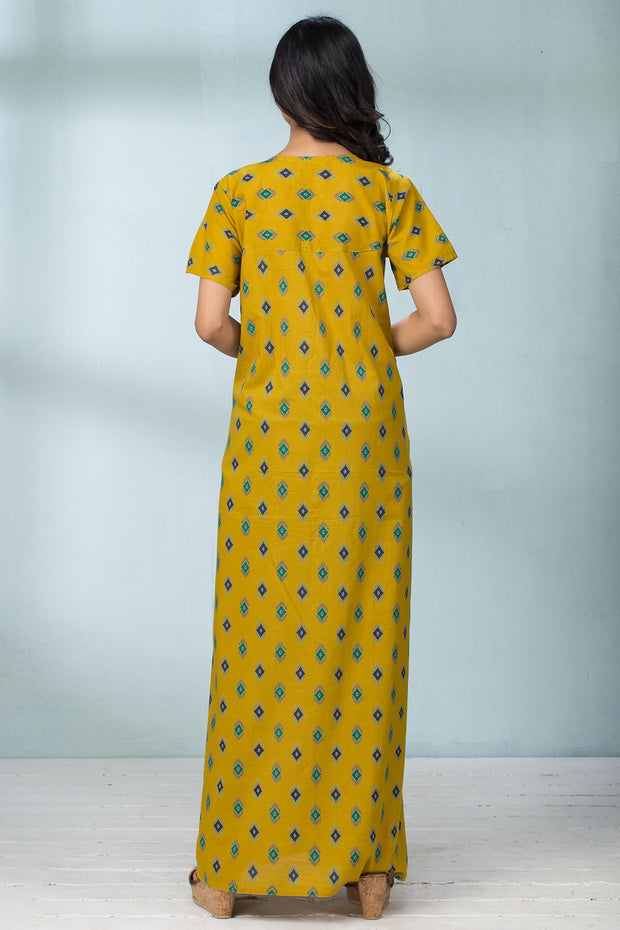 Geometric Printed Nightwear - Yellow - Maybell Womens Fashion