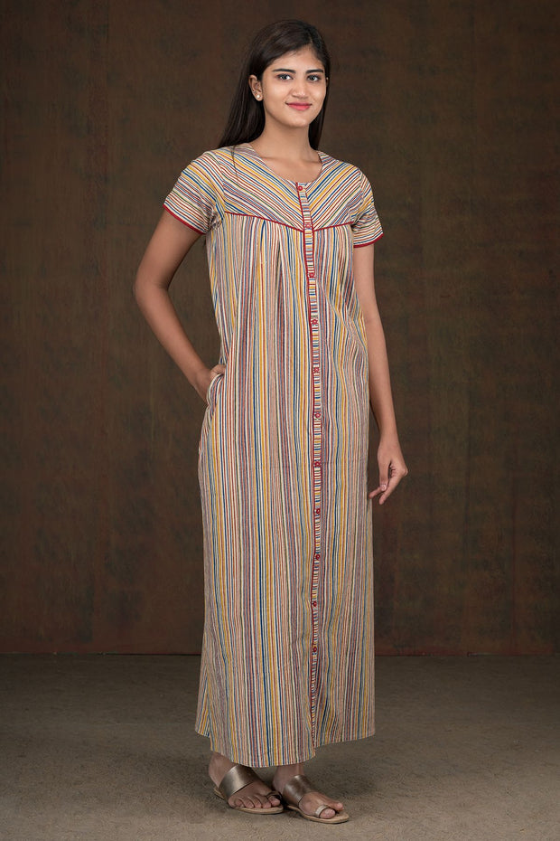 Multi Color Striped Kalamkari Nighty - Maroon
