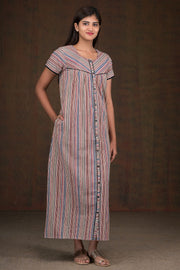 Multi Color Striped Kalamkari Nighty - Pink