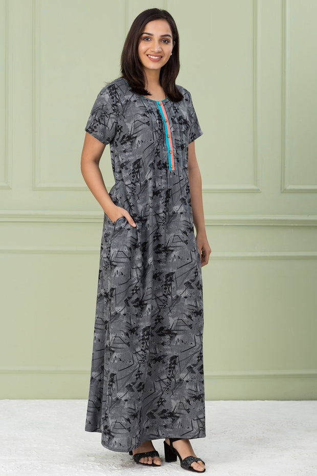 Abstract Geometric Print Nightwear - Grey - Maybell Womens Fashion