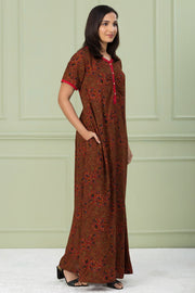 Floral Printed Nightwear - Maroon - Maybell Womens Fashion