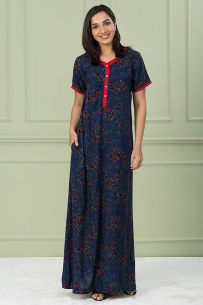 Floral Printed Nightwear - Navy - Maybell Womens Fashion