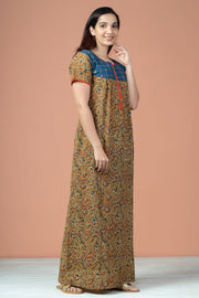 Floral Kalamkari Print With Foil Mirror Work Nighty Wear - Green