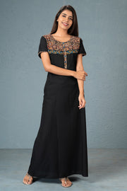 Kalamkari yoke printed plain nightwear-Black