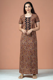 Floral Kalamkari Print With Embroidery Nighty Wear - Black