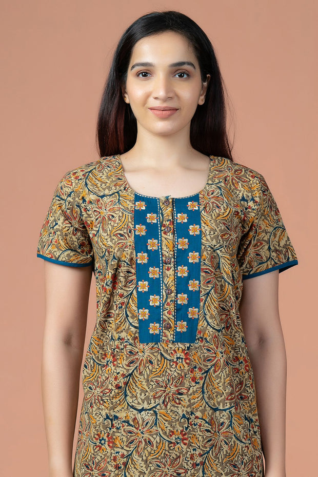 Floral Kalamkari Print With Embroidery Nighty Wear - Green