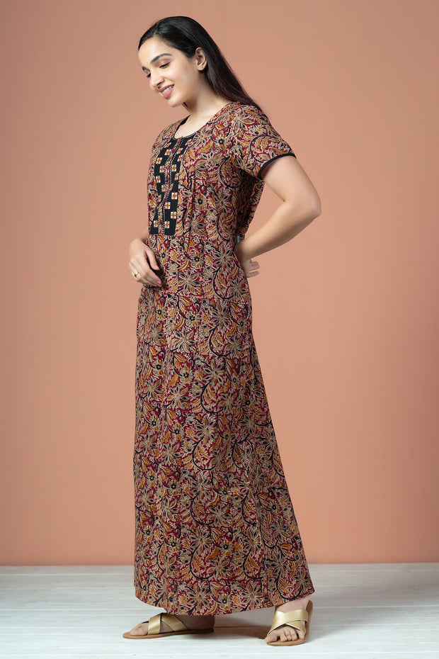 Floral Kalamkari Print With Embroidery Nighty Wear - Red