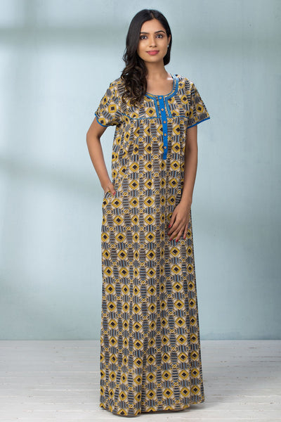 Geometric Printed & Yoke Piping Nightwear - Yellow - Maybell Womens Fashion
